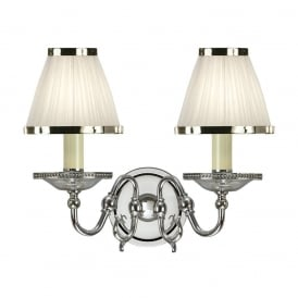 Tilburg Stylish Twin Wall Light in Polished Nickel Finish With White Shades 63724