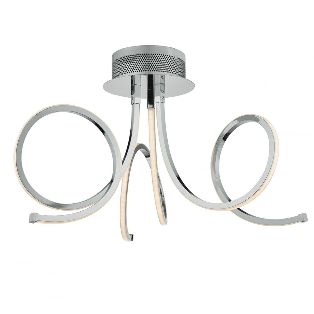 Led In Ceiling Lights: Dar Lighting Tiro Modern LED 3 Light Semi Flush Ceiling