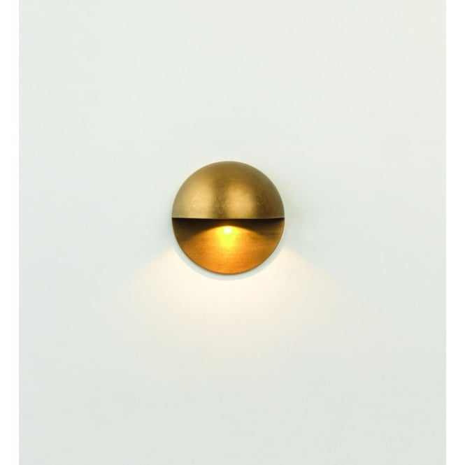 Astro Lighting Tivoli Round Outdoor LED Wall Light In Antique Brass Finish 7971