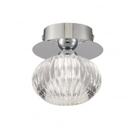 Tizzy Stylish Glass Flush Ceiling Light In Chrome Finish CF5749
