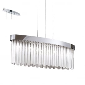 Tolosa Stylish Ceiling Bar Pendant Light In Chrome Finish With Satinated Glass 93062