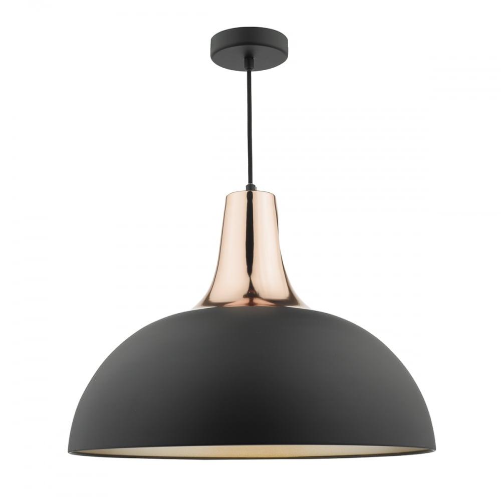 b1599a1c4840 Dar Lighting Toronto Ceiling Pendant Light In Matt Black And Copper ...