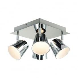 Torsion Square LED Semi Flush Ceiling Spotlight In Chrome Finish G3223515