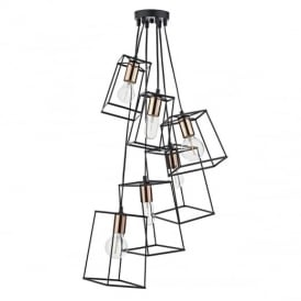 Tower 6 Light Cluster Ceiling Pendant in Matt Black with Copper Lamp Holders TOW0622