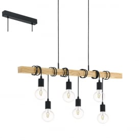Townshend 6 Light Rope Ceiling Pendant In Black Finish 95499