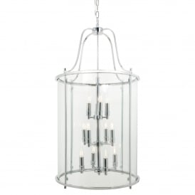 Traditional 12 Light Round Hall Ceiling Lantern, Polished Chrome