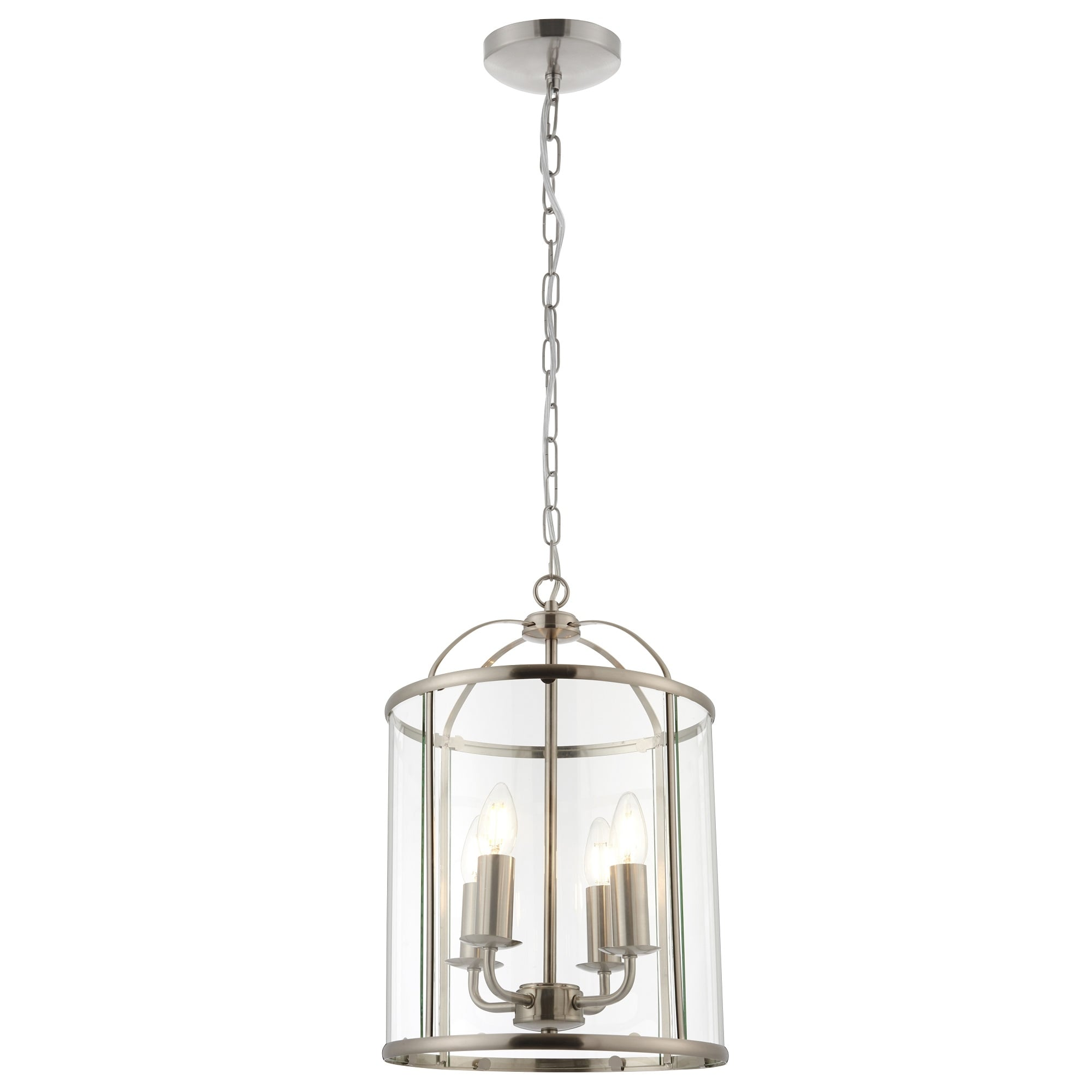 Thlc Traditional 4 Light Brushed Silver Nickel Round Hanging Hall Ceiling Lantern Lighting From The Home Lighting Centre Uk