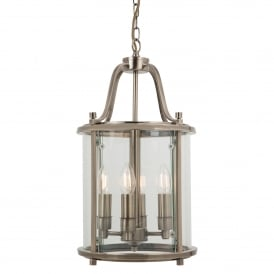 Traditional 4 Light Round Hall Ceiling Lantern, Antique Brass