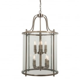 Traditional 8 Light Round Hall Ceiling Lantern, Antique Brass
