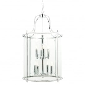 Traditional 8 Light Round Hall Ceiling Lantern, Polished Chrome