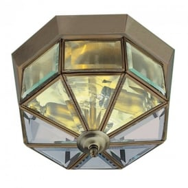 Traditional Antique Brass Flush Ceiling Light With Ornate Bevelled Glass 120W