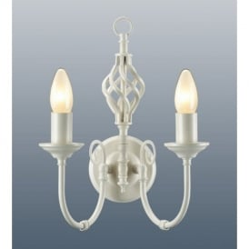 Traditional Barley Knot Twist 2 Light Sconce Wall Light Lamp, Lighting Cream