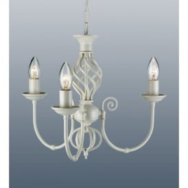 Traditional Barley Knot Twist 3 Light Ceiling Pendant Chandelier Cream Finish