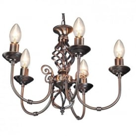 Traditional Barley Knot Twist 5 Light Ceiling Pendant Chandelier Antique Brass