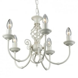 Traditional Barley Knot Twist 5 Light Ceiling Pendant Chandelier Cream Finish