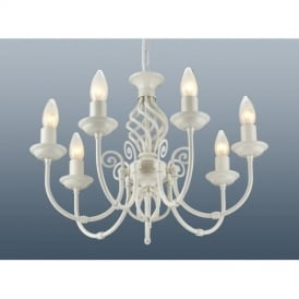 Traditional Barley Knot Twist 7 Light Ceiling Pendant Chandelier Cream Finish