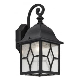 Traditional Black Outdoor Cathedral Style Lead Glass Wall Lantern Light