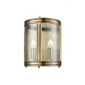 Traditional Half Lantern In Bronze Finish With Clear Glass Panels WB601
