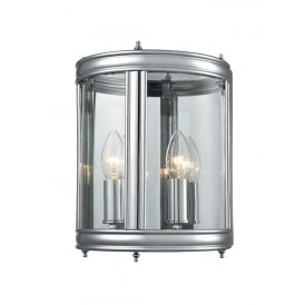 Traditional Half Lantern In Chrome Finish With Clear Glass Panels WB1003