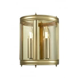Traditional Half Lantern In Polished Brass Finish With Clear Glass Panels WB588