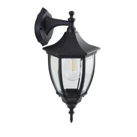 Traditional Large 6 Sided Black IP44 Outdoor Down Facing Wall Lantern Light
