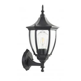 Traditional Large 6 Sided Black IP44 Outdoor Upward Facing Wall Lantern Light