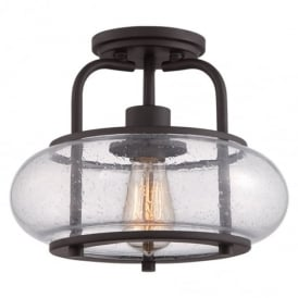 Trilogy 1 Light Old Bronze Semi Flush Light with Glass Shade QZ/TRILOGY/SF/S
