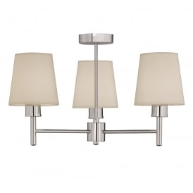 Turin 3 Light Semi Flush Ceiling Light In Chrome With Fabric Shades FL2126/3/1123