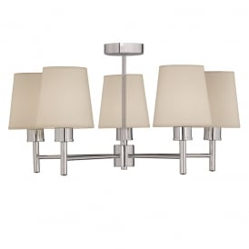 Turin 5 Light Semi Flush Ceiling Light In Chrome With Fabric Shades FL2326/5/1123