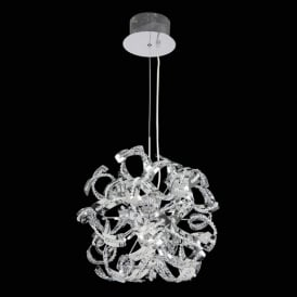 TWIST-9CH Modern 9 Light Pendant Ceiling Light In Chrome