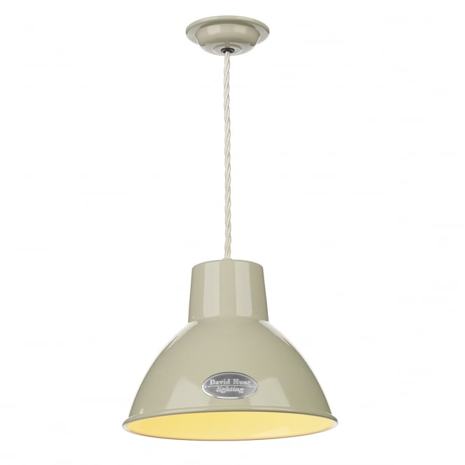 David Hunt Lighting Utility Vintage Small Ceiling Pendant Light In French Cream Finish UTI862