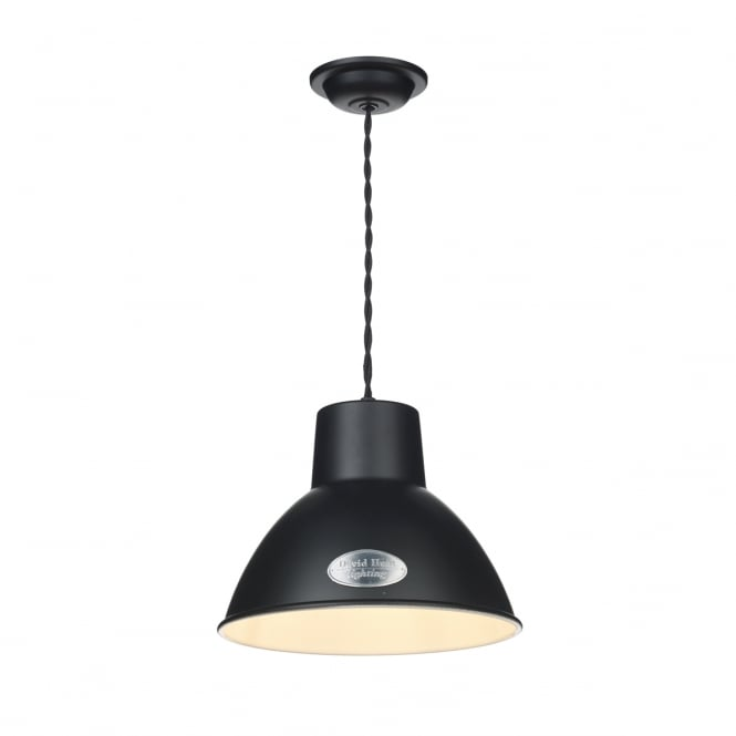 David Hunt Lighting Utility Vintage Small Ceiling Pendant Light In Matt Black Finish UTI8622