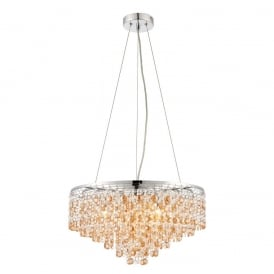 Vanessa Crystal Ceiling Pendant Light In Polished Stainless Steel Finish 69365