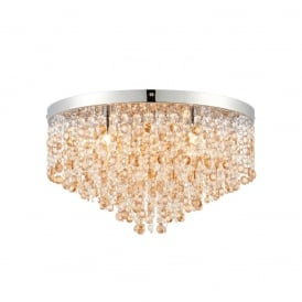 Vanessa Crystal Flush Ceiling Light In Polished Stainless Steel Finish 69366