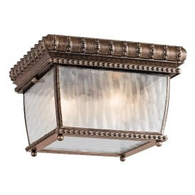 Venetian Rain Flush Ceiling Light In Brushed Bronze Finish IP44 KL/VENETIAN/F