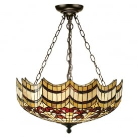 Vesta Tiffany Large Inverted Ceiling Pendent With Scalloped Edges 64374