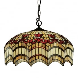 Vesta Tiffany Medium Ceiling Pendent Light With Scalloped Edges 64375
