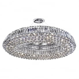 Vesuvius Stylish 10 Light Oval Crystal Pendant In Chrome Finish 9291CC