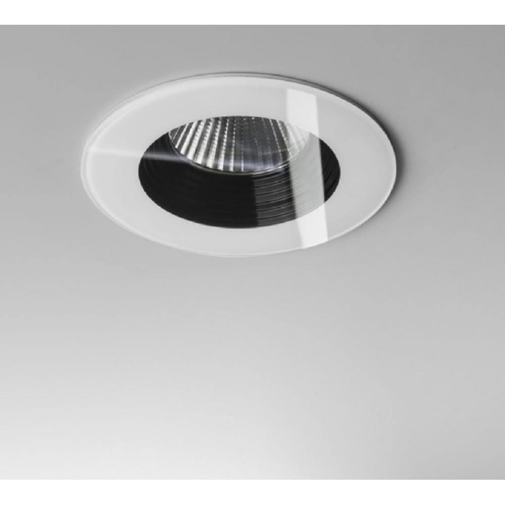 Vetro modern round recessed led downlight in white finish ip65 1254013