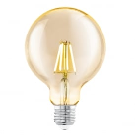 Vintage Edison Screw LED Filament Amber Large Globe 4 Watt 11522