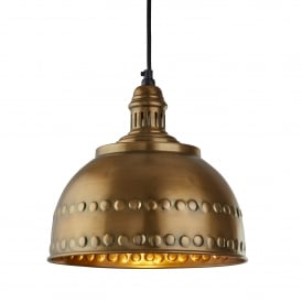 Vintage Single Medium Ceiling Pendant Light In Antique Brass Finish 4008AB