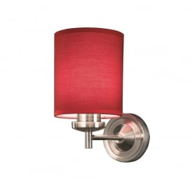 Vivace 1 Light Wall Bracket In Satin Nickel With Red Shade FL2315/1/1156