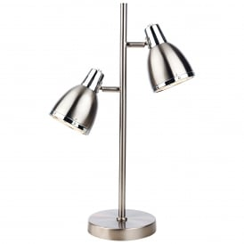 Vogue Modern 2 Light Table Lamp In Brushed Steel Finish 3467BS