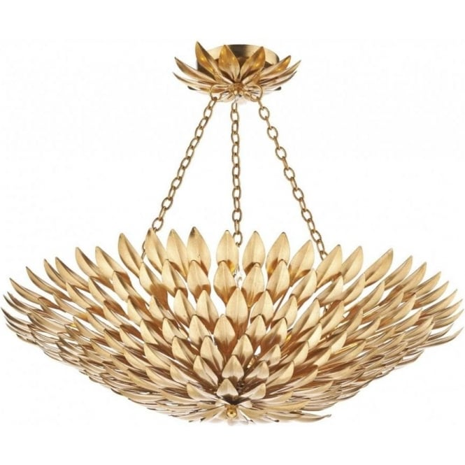 Dar Lighting Volcano Decorative 5 Light Pendant Light Whit Gold Leaf Finish VOL5435