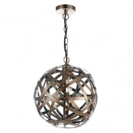 Voyage Antique Copper Band Globe Ceiling Pendant Light VOY0164