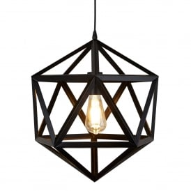 Voyager Geometric Single Ceiling Pendant Light In Matt Black Finish 5701BK