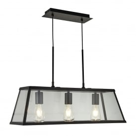 Voyager Quirky 3 Light Ceiling Bar Lantern In Matt Black Finish 4613-3BK
