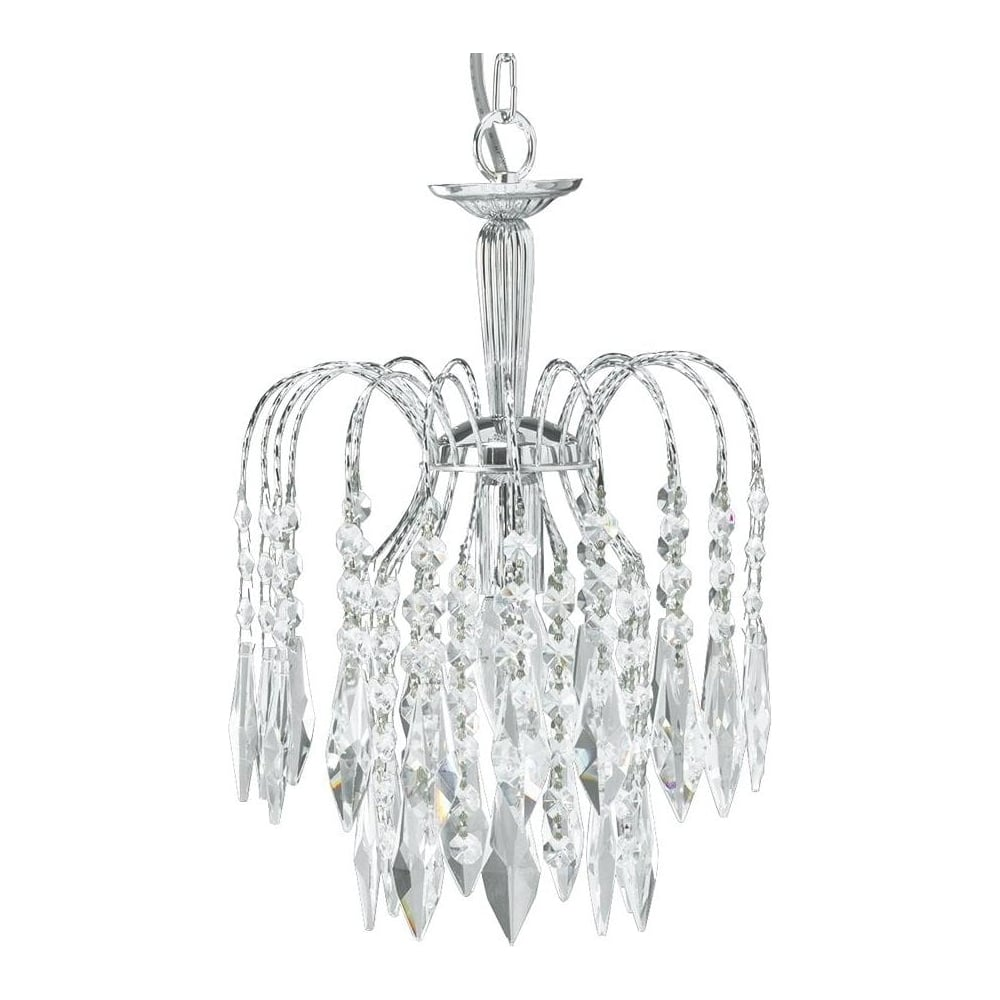 Waterfall 1 Light Chrome Crystal Chandelier 4271