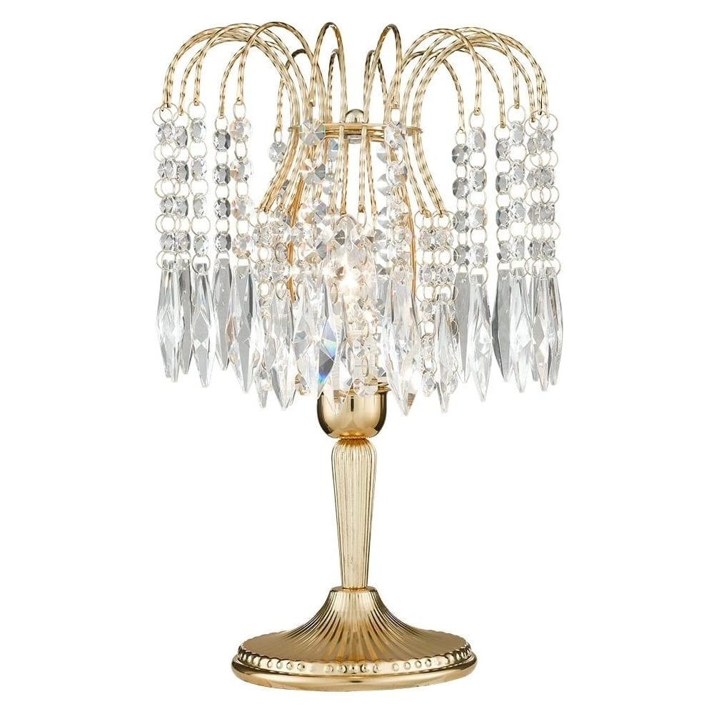 Waterfall Gold 1 Light Crystal Table Lamp 4171 Lighting From The