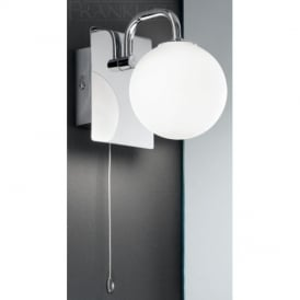 WB1001 1 Light Switched Bathroom Wall Lamp With Opal Shade
